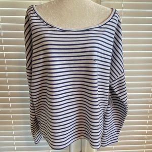 New York Co XX-Large Blue White Stripe Blouse Top